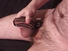 Trying to cum in chastity