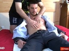 A innocent str8 guy serviced his big cock by a guy!