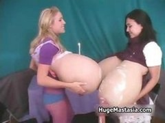 A duo excited chicks with immense jugs admire part5