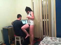 Brunette mother seduce her son