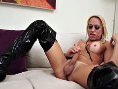 blonde shemale Sheykira Vogel enjoys in hot solo action