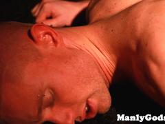 Dreamy stud assfucked while jerking off