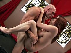 Big boobed redhead has tight pussy grip