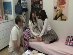 Asiatisch, Fingern, Japanische massage, Flotter dreier