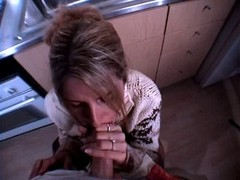 eager mom gets cumshot on face in the kitchen