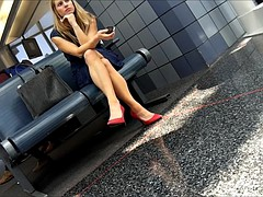 Candid Legs and Feet in Red Heels at Airport