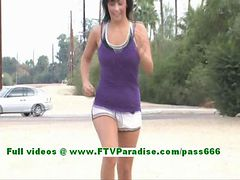 Mand furthermoreee terrific brunette chick public tits and furthermore pussy flashing
