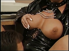 Leather-corseted blonde and toned dude suck dude's cock together then fucks