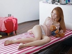 Playful redhead 18-19 y.o. Michelle doing herself
