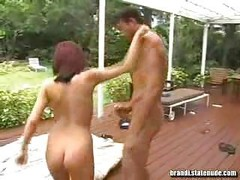 18-19 y.o. Nudist Get down and dirty on Back Deck