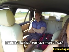 European cabbie sucking backseat passenger
