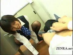 Japanese Office Woman Teases Cfnm Jacking off Coworker