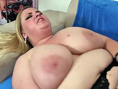 Huge boobed girl takes cock