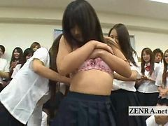 Shy Japanese Student Unclothes In Front Of Classmates