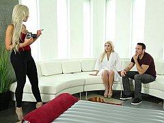 Américain, Blonde, Européenne, 2 femmes 1 homme, Allemand, Massage, Tatouage, Plan cul à trois