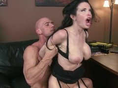 Raunchy dark haired mature slut gets nailed by her bald lover