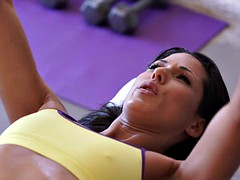 Steamy hardcore workout for tiny tit babe