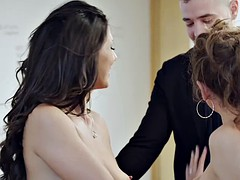 Spanish boss Alexa Tomas and secretary Julia Roca share a rock hard cock