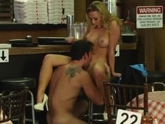 Business arrangement finishes with fucked blonde girl's peach