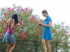 A duo girlfriends Beata and plus Mia smoke me and plus my huge purple pole outdoors under trees