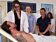 English cfnm nurses tugging and sucking sub