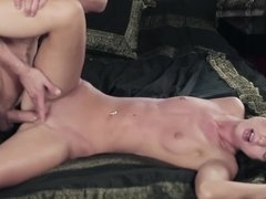 A girl with natural tits is getting fucked hard in her meaty cunt