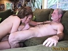 Teen swallows stepdad cum