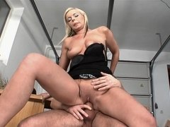 Ravishing blonde has sex with well-hung beau in the garage