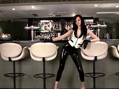 Shiny latex barmaids rubber fetishwear and high heel babe po