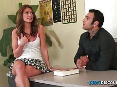 Babe rides shlong for cum