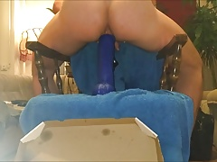 Slow and deep dildo anal penetration