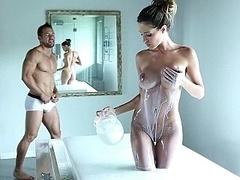 Asombroso, Cuarto de baño, Tetas grandes, Morena, Sexo duro, Alto, Apretado, Tetas
