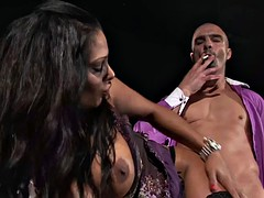 When the cigar exits her mouth a cock makes its debut