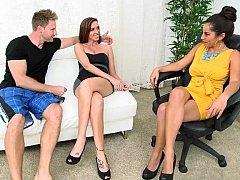 バック, ドレス, 女 人男 人, グループ, 淫乱熟女, オフィス, 三人