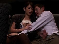 Nippon babe sucks bloke in public theater
