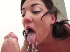 A sexy brunette that loves anal is fucked just right in her ass