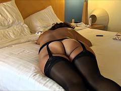 MATURE ASIAN WIFE IN BLACK LINGERIE