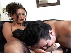 Attractive brunette femdom goddess makes her minion cum after some