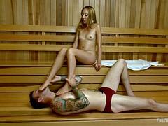 Nice Footjob In The Sauna