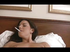 Horney Brunette Smoking And also Dildos
