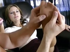 Menial On A Leash Licks Feet In Pantyhose