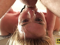Gagged english sub spanked and throatfucked