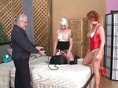 Slave gets on dong and mistress controls it and pulls her nipples