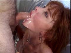 Busty brunette Eager mom gags on hard white dick