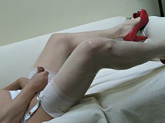 red heels, sheer pantyhose, white stockings and RHT double cum!
