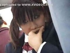 Japanese schoolgirl gets groped and moreover fucked by a stranger on the bus