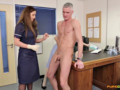 Two Clothed Ladies Takes Care Of Naked Guy