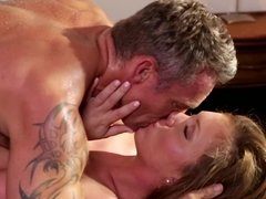 Dame takes cock in mouth to make it harder and ready for drilling