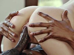 Slender white schoolgirl Naomi Woods gets double fucked by big black cocks