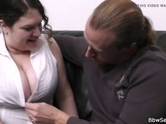 Wife finds busty bitch riding his massive rod